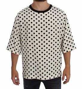 Bianco Dolce shirt Nero Girocollo Con A Nuova Gabbana Seta Etichetta Pois T wqxEInFB