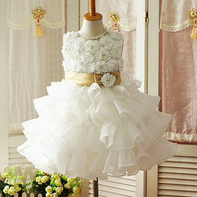 3D Flower Tutu Layered Baby Girls Toddler Princess Party Wedding Bow Dress Skirt