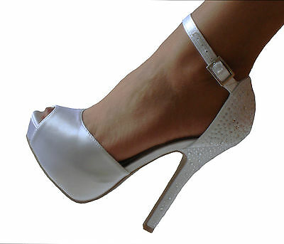 White Satin Rhinestone Platform Peep Toe Bridal Heels Pumps Shoes 8