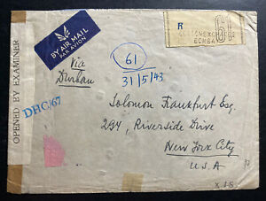 1943-Bombay-India-Airmail-Censored-Cover-To-New-York-USA-Back-Stamped