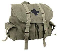 Vintage Olive Drab Compact Weekender Canvas Backpack w/ Military Medic Cross