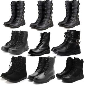 aaa2b9fa8 2018 Mens Leather Punk Rock Boots Goth Ankle Mid-Calf Lace-up Biker ...