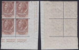 Italia-1958-034-Siracusana-034-varieta-L-100-bruno-blocco-di-4-adf-ND-da-estra-Carraro