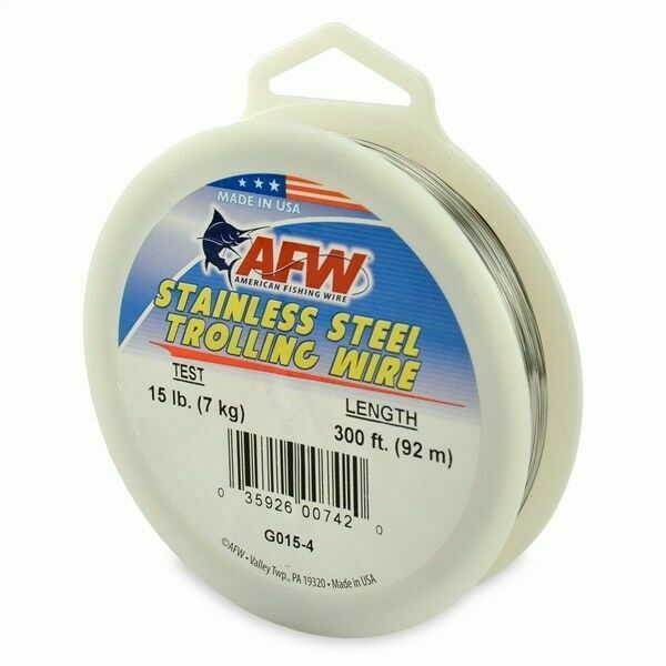 AFW Stainless Steel Trolling Wire 300Ft Bright 15Lb .033Mm G015-4