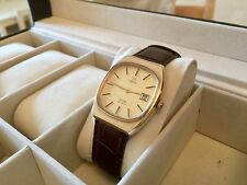 OMEGA GOLD DE VILLE MENS GENTS DATE VINTAGE LEATHER - PRICED TO SELL FAST