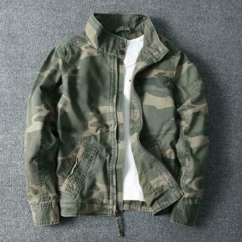 Mens Camouflage Combat Jacket Military Pockets Outdoor Army Coat Stand Collar sz