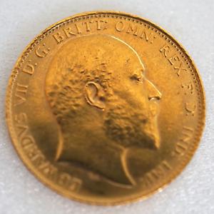 Rare 1904 Edwardvs Vii D G Britt Omn 22k Gold Coin Ebay