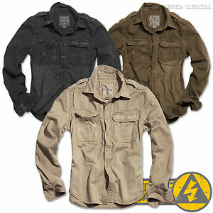 Surplus-Vintage-Mens-Military-Long-Sleeve-Casual-Cotton-Shirts-Army-Tactical