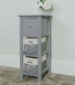 Tall Slim Bedside Table, Grey Tallboy Storage Unit Wicker Bathroom by Ebay Seller