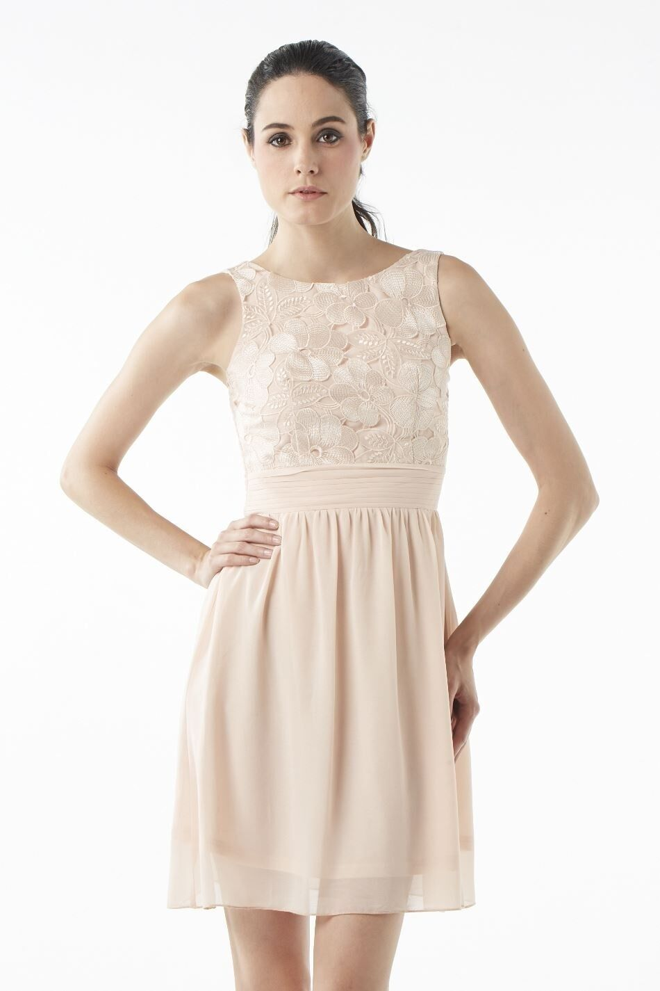 Chase7 Beige Floral Lace Party Flared Dress Gown (NEW) sizes 12 or 14 - .00