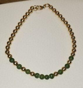 048d226ee4d VINTAGE? 12k GF 1/20 yellow gold filled Beaded Beads Ball Green Jade ...