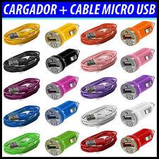 CARGADOR DE COCHE + CABLE MICRO USB DATOS MECHERO PARA MOVIL UNIVERSAL ANDROID