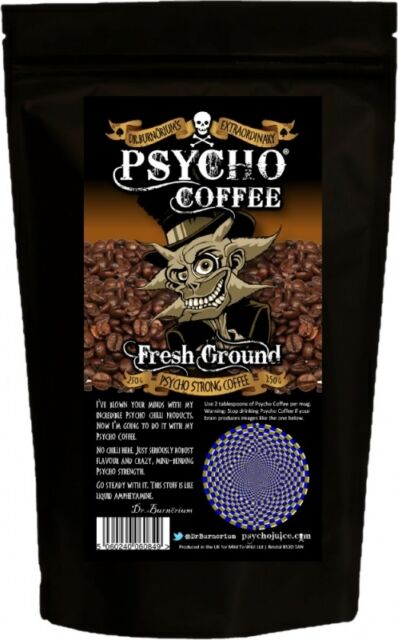 """""""PSYCHO FRESH GROUND COFFEE"""" - Extra Strong Coffee For Cafetieres/Coffee Machine"""