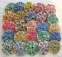 100 2 Inch Fabric Yo Yos Pastel Reproduction Fabric.