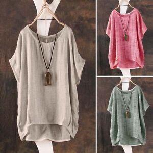 Femmes-d-039-ete-T-Shirt-Casual-Plaine-Lache-Blouse-Chemise-Batwing-Asymetrique-Tops