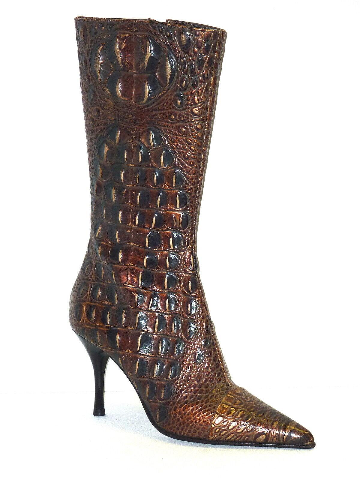 LORIbleu bottes femmes chaussures STIVALETTI PELLE STAMPA COCCODRILLO TACCO MEDIO 38