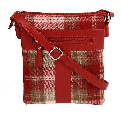 Mala Leather Abertweed Cross Body Bag (red tartan) NEW  20456