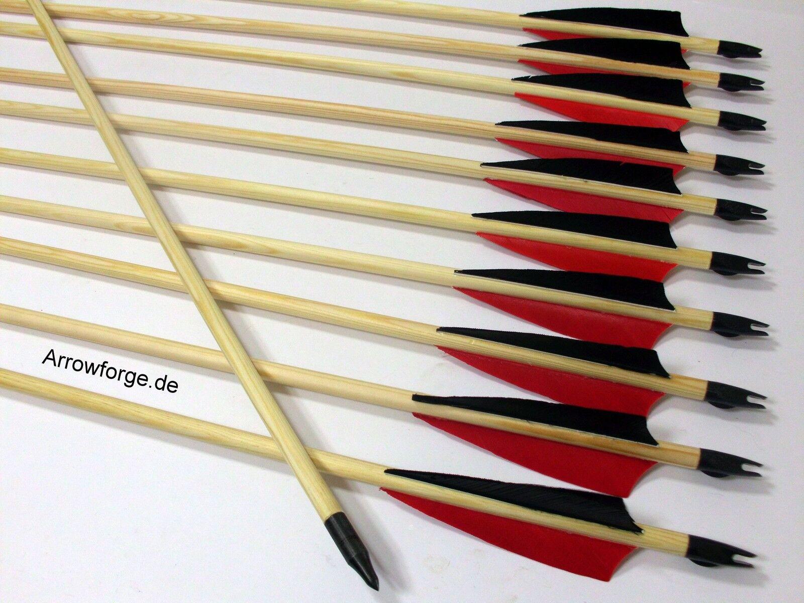 10x Holzpfeile  Langbogenpfeile Pfeile traditionell Langbogen 4  Shield Rot Schw