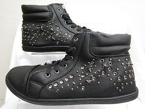 Femmes-Noir-Montante-Lacet-Escarpins-Baskets-avec-etoile-amp-Detail-Cloute-F8957