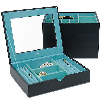 Stackable Jewelry Trays Set of 4 Leather Black Seafoam Green