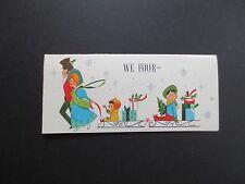 Vintage Unused Hallmark Xmas Greeting Card Victorian Family With Kids on Sleighs