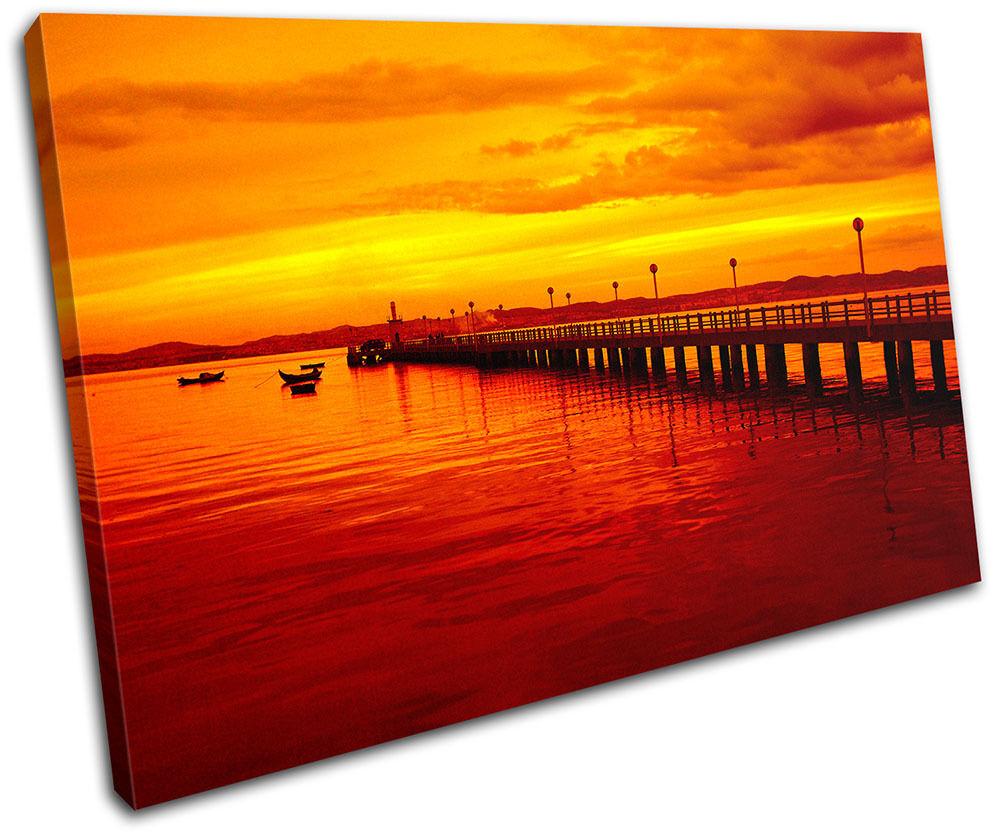 Pier Jetty Sunset Seascape SINGLE Leinwand Wand Kunst Bild drucken