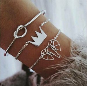 Fashion-3Pcs-Set-Silver-Crown-Knot-Elephant-Open-Bangle-Chain-Bracelet-Jewelry