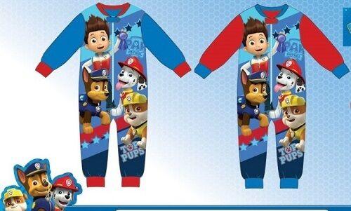 Boys Paw Patrol Fleece Pyjamas All In One Sĺeepsuit Pjs Sizes 2,3,4,5,6 Years