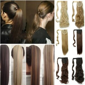Thick-Tie-up-Wrap-Around-Ponytail-Clip-in-Hair-Extensions-Brown-Blonde-For-Women