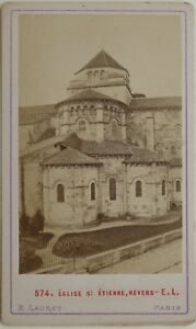 E-Ladrey-Nevers-Iglesia-St-Etienne-Francia-CDV-Foto-Vintage-Albumina