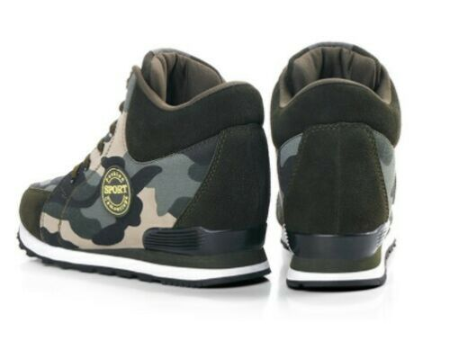 Women Hidden Wedge Heel Round Toe Lace Up Camouflage High Top Fashion Sneakers
