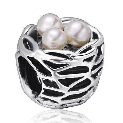 Genuine Pearl In Nest Style 925 Silver Charm Bead Fit Sterling European Bracelet