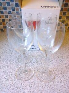 LUMINARC FRANCE 4 X STEMMED WINE GLASSES HOLDS 8 & 3-4 OZ BOXED yudMq7nK-09105659-560281656