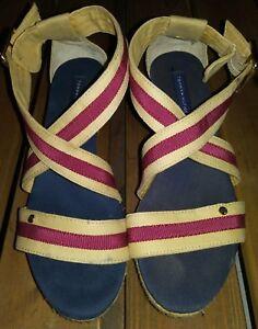 29a2657d419 Image is loading Tommy-Hilfiger-Wrapped-Platform-Strap-Wedge-Sandals-Women-