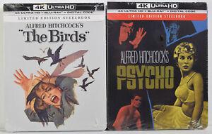 THE BIRDS & PSYCHO (4K ULTRA HD, Blu-Ray, Digital) Limited Edition STEELBOOK NEW