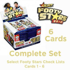 2018-AFL-SELECT-FOOTY-STARS-CARDS-COMPLETE-SET-OF-CHECK-LISTS-6-CARDS