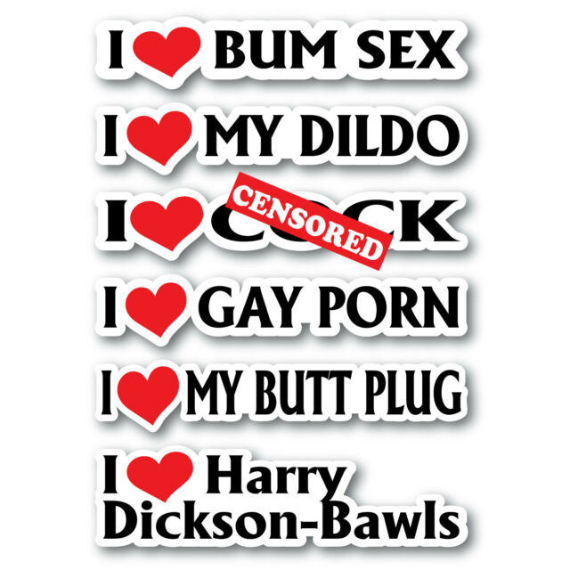 Prank stickers 6 pack 180mm quality vinyl water & fade proof rude funny