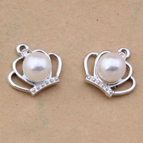 Crown Encanto Colgante Accesorios Perla Imitación de Moda Joyería haciendo 1133 H