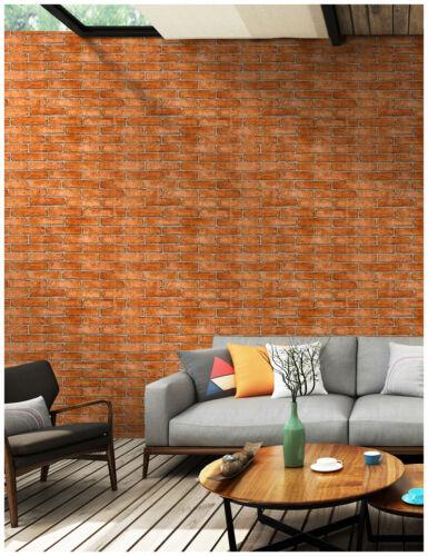 Faux Brick Peel and Stick Wallpaper Orange Red//Grey Self Adhesive Contact Paper