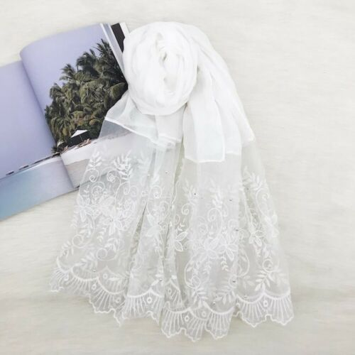 de Damen Muslimisch Perle Spitze Baumwollschal Gewickelt Schals Kopfbedeckung