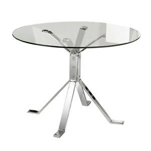 Detalles de Mesa cristal redonda para comedor salón con patas Cromo y  Cristal, Ginebra