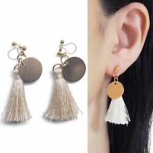 ac28782a8 Dangle White Tassel Invisible Clip On Earrings Gold Coin Fringe Clip ...