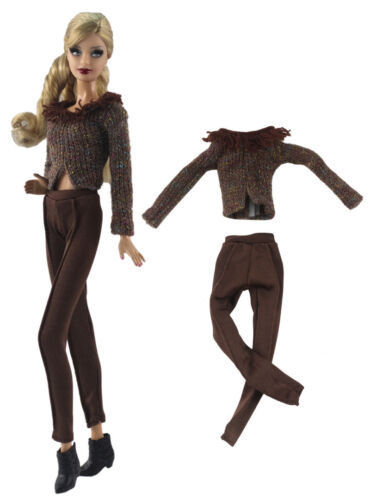 2 Pcs Sweater Set Fashion Outfit Top+pants FOR 11 in Doll Clothes a03