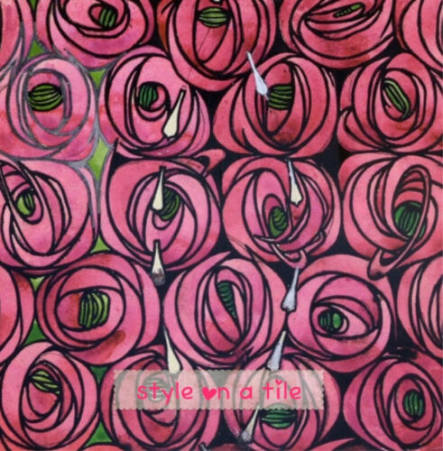 "Nice Rennie Mackintosh Pink Rose Flower Teardrop 6/""//15cmceramic wall tile trivet"