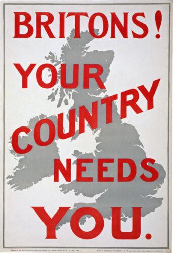 W87 Vintage Wwi British bretones país necesita usted consiguió Guerra Cartel Ww1 A1 A2 A3