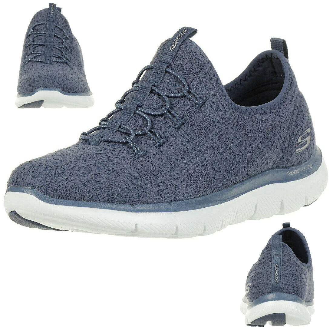 Skechers Flex Appeal 2.0 Clear Cut Wouomo scarpe da ginnastica Slip on Memory Foam blu