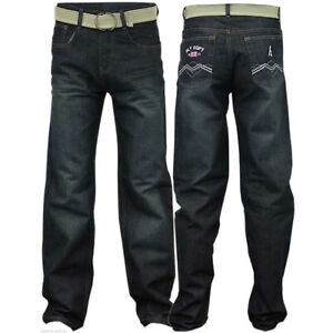 Boys-Kids-Jeans-Denim-Straight-Leg-Stretch-Trousers-Five-Pockets-With-Belt-Pants