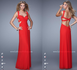 5305d29f736b LA FEMME RED GATHERED BODICE CUTOUT STRAPS NET GOWN SZ 6 NWT $325 ...