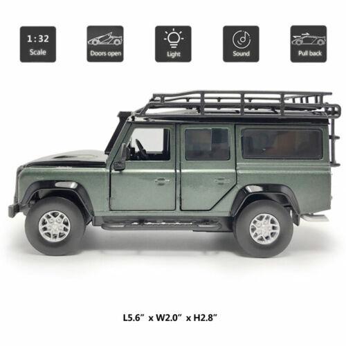 1:32 Land Rover Defender SUV Model Car Diecast Vehicle Toy Sound /& Light Green