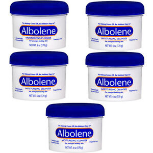 5 Pack Albolene Cleansing Concentrate Moisturizing Cleanser Cream Unscented 6oz Lustray Blue Spice After Shave, 14 Ounce